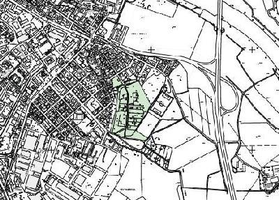 Cartina muta con evidenziata l'area degli orti