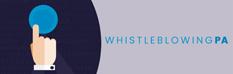 una mano che schiaccia un bottone e la scritta whistleblowing pa