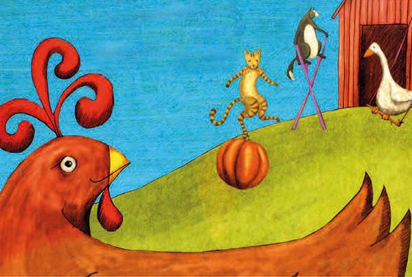 immagine della storia con la gallinella, il gatto, l'oca