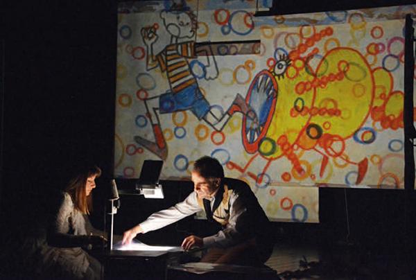 immagine di scena con gli attori Micjele Eynard e Federica Molteni