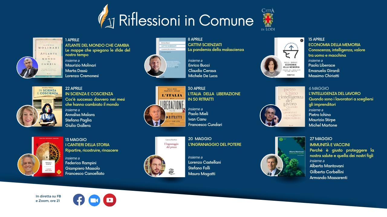 calendario aprile e maggio con date, immagine copertine, autori e relatori