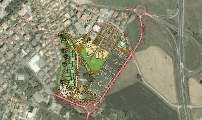 Foto aerea con evidenziata l'area interessata dal progetto