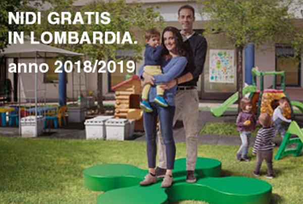 una famiglia e la scritta nidi gratis in lombardia anno 2018/2019