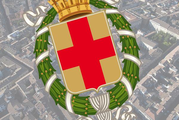 lo stemma di lodi con sfondo una vista dall'alto della piazza