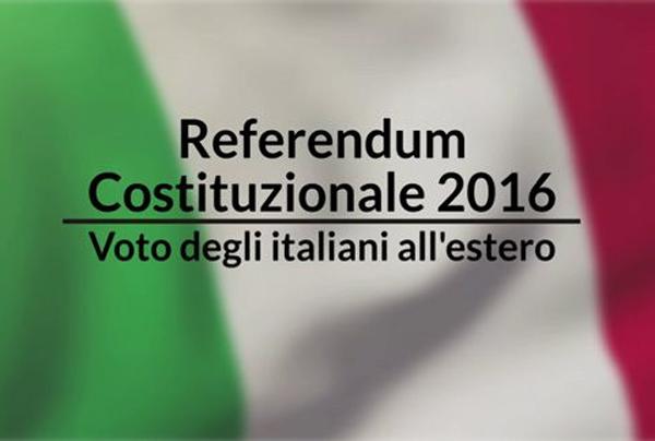 tricolore con la scritta referendum costituzionale 2016 voto degli italiani all'estero