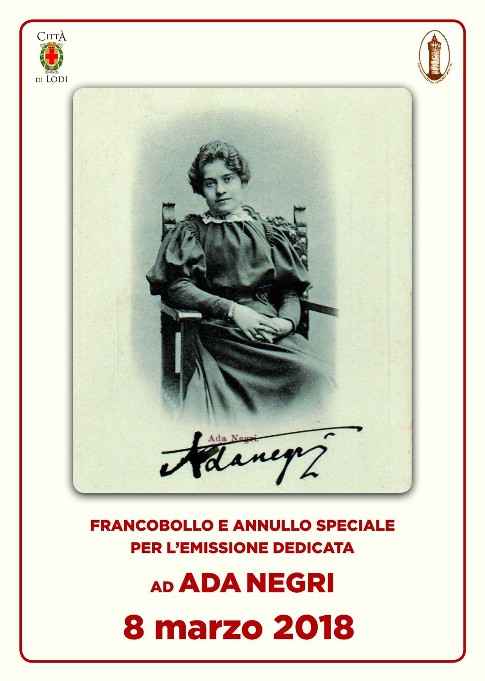 immagine del volantino per il francobollo e annullo speciale per l'emissione dedicata ad ada negri