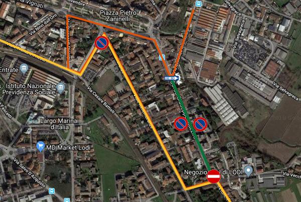 mappa di corso mazzini con evidenziati i divieti di transito e sosta