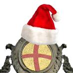 lo stemma del comune con il cappello di babbo natale