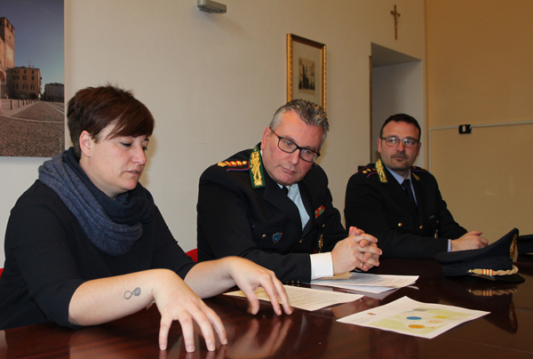 il sindaco casanova, il comandante della polizia locale germanà e il commissario pavesi