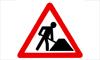 segnale stradale di lavori in corso