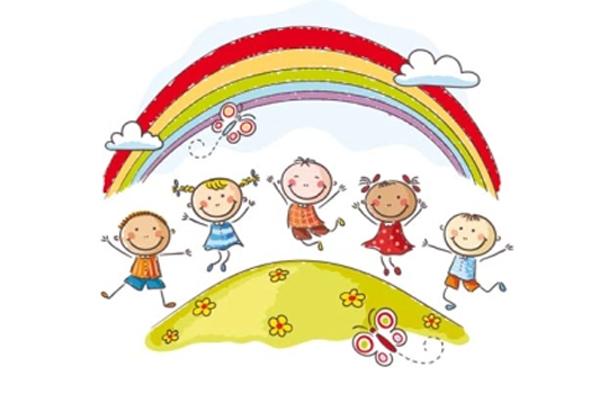 un arcobaleno con bambini