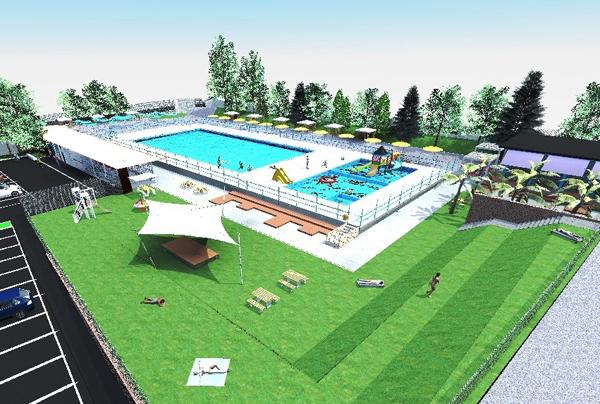 render del progetto, la piscina vista dall'alto