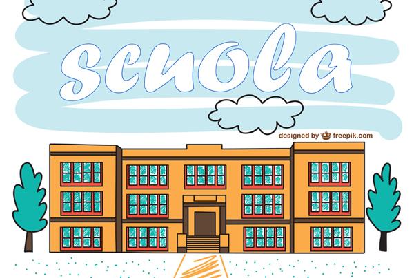 disegno di un plesso scolastico con la scritta scuola