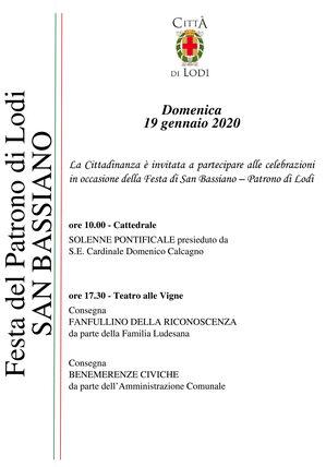 cartolina con programma delle celebrazioni istituzionali
