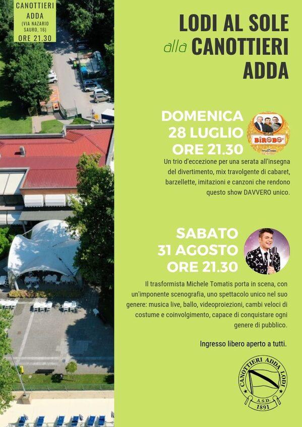 Pagina del libretto di Lodi al Sole dedicata alle iniziative alla canottieri Adda, con i 2 appuntamenti