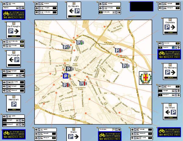 mappa del nuovo sistema di indirizzamento ai parcheggi