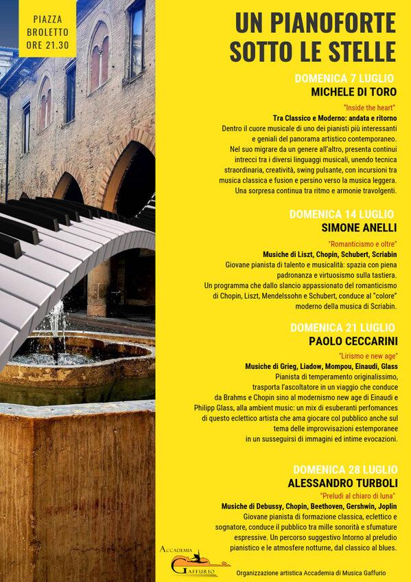 """Pagina del libretto di Lodi al Sole dedicata al """"Pianoforte sotto le stelle"""" con i 4 appuntamenti"""