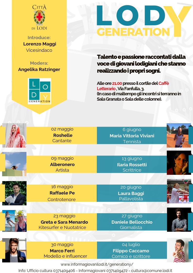 Locandina dell'iniziativa con le immagini degli undici protagonisti e le rispettive date