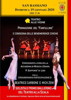locandina dello spettacolo di danza con immagine dei ballerini, nomi, data, ora, location